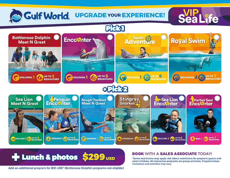 Gulfworld - Upgrade Your Experience with VIP SEA LIFE. Pick 1: Bottlenose Dolphin Meet N Greet, Dolphin Encounter, Dolphin Swim Adventure, or Dolphin Royal Swim. Pick 2: Sea Lion Meet N Greet, Penguin Encounter, Rough-Toothed Dolphin Meet N Greet, Stingray Snorkel, Sea Lion Encounter, or Harbor Seal Encounter. Lunch and photos included. Package Price: $299 USD.
